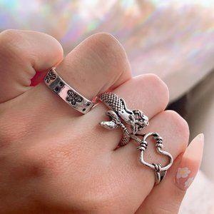 🤍 Simple Grunge Silver Ring Set